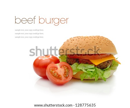Home-made beef burger in a sesame seeded bun with lettuce, tomato and ketchup against a white background with soft shadows. Copy space. - stock photo