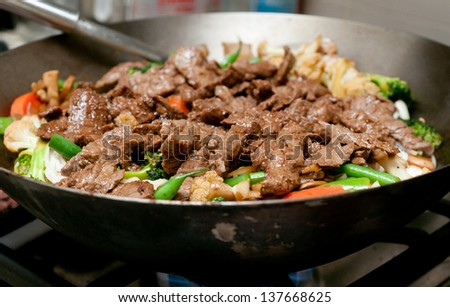 home made beef stir fry - stock photo