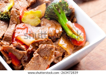 home made beef stir fry with fresh vegetables - stock photo
