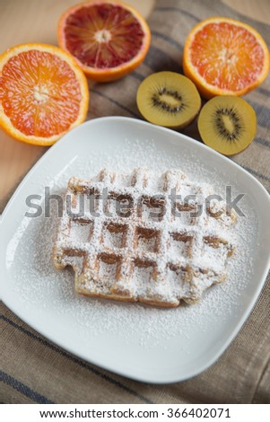 Home made Belgian waffles with fresh fruit