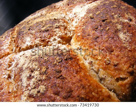 Home made bread with oats - stock photo