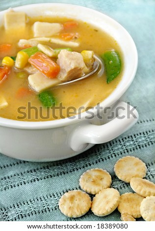 Home-made chicken vegetable and noodle soup with oyster crackers. - stock photo