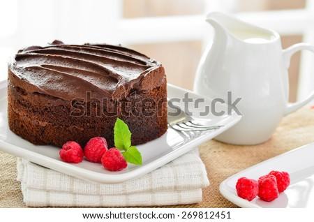 Home made chocolate cake. - stock photo