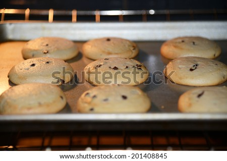 home made chocolate chip cookies baking in a hot oven half done still rising - stock photo