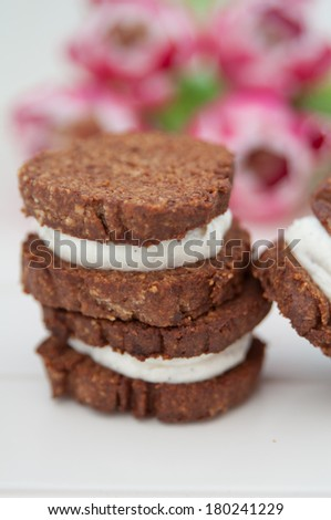 Home made Chocolate Sandwich Cookies - stock photo