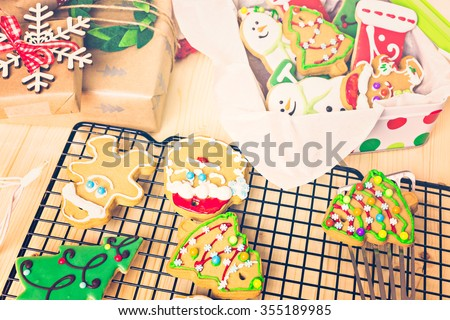 Home made Christmas cookies decorated with colorful icing.