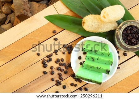 Home made coffee and green tea soap. - stock photo
