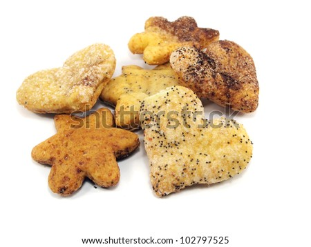home made cookies on a white background - stock photo
