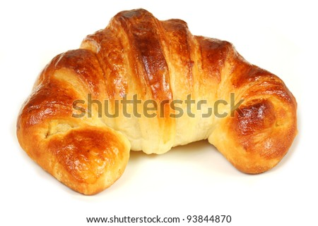 Home made croissant isolated on white background - stock photo