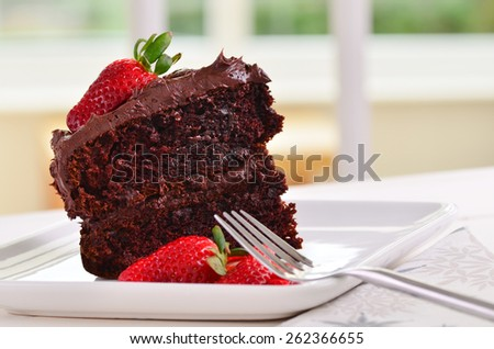 Home made delicious sticky chocolate cake - stock photo