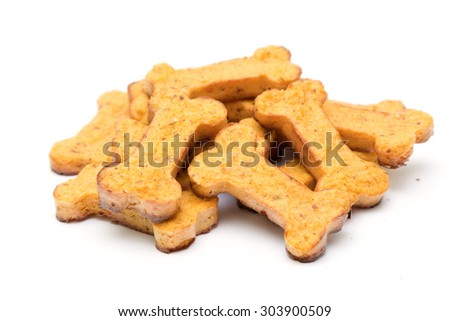 Home made dog biscuit Isolated on White Background - stock photo