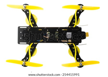 Home made drone isolated on white from directly above. - stock photo