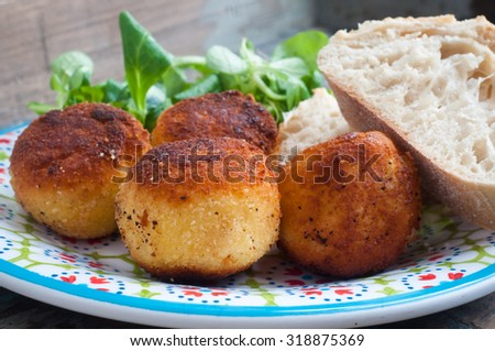 Home made fish cakes made from salt cod and potato. Served with fresh ...