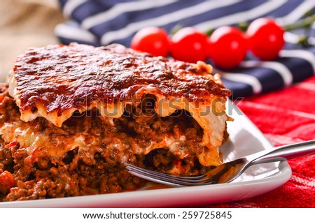Home made fresh delicious beef lasagna. - stock photo