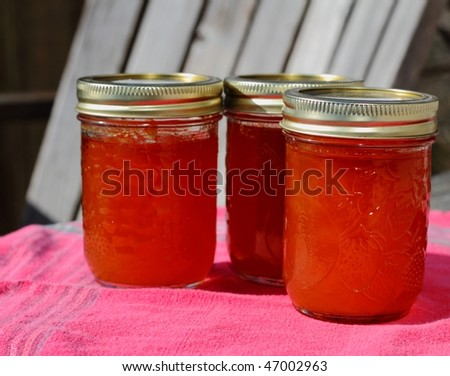 Home made jams in sunlight - stock photo