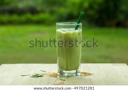 Home made Matcha iced green tea with milk, Latte Tea with Milk.
