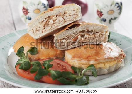 Home made mini pie filled with chicken meat - stock photo