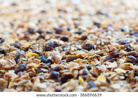 Home Made Muesli Granola Oats Raisin Cereals Fruits Nuts Flakes Background Food Texture Selective Focus - stock photo