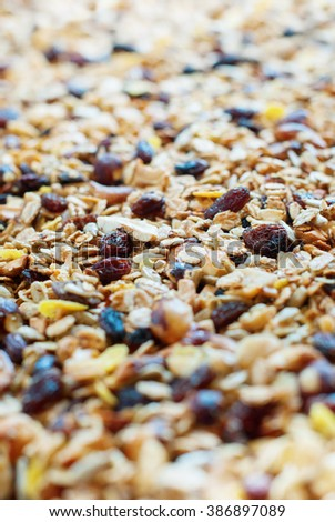 Home Made Muesli Oats Raisin Cereals Fruits Nuts Flakes Background Food Selective Focus - stock photo