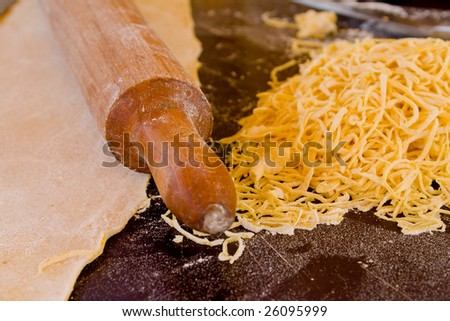 home made noodles - stock photo