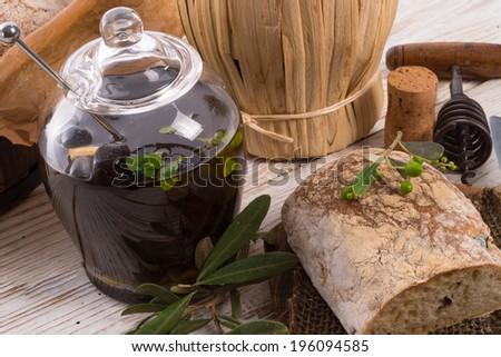 home-made olive ciabatta - stock photo