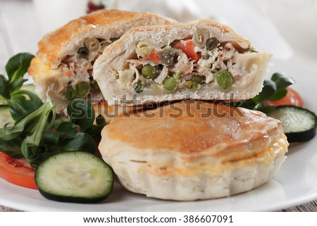 Home made pie filled with chicken meat and vegetables - stock photo