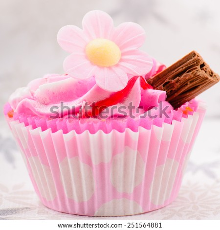 Home made pink strawberry cup cake - stock photo