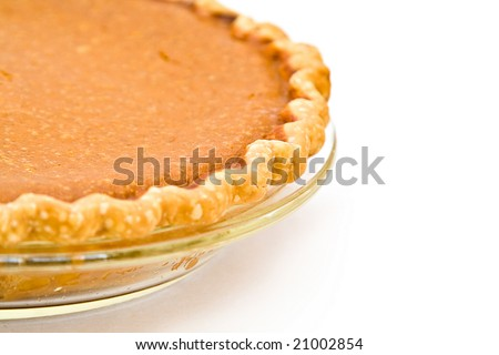 Home Made Pumpkin Pie fresh from my oven - white background. - stock photo