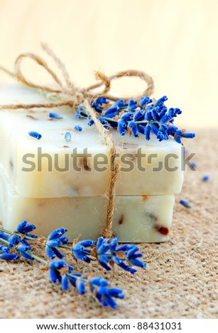 Home-made soap still-life with lavender