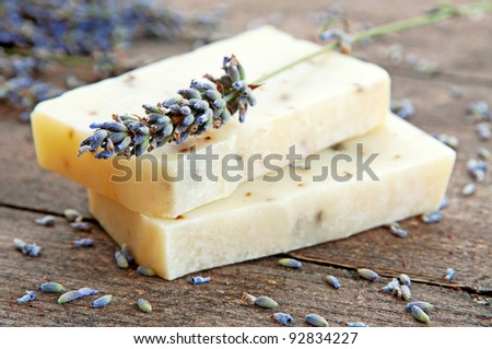 Home-made soap with lavender - stock photo