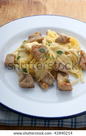 home made tagliatelle with organic chicken on a plate