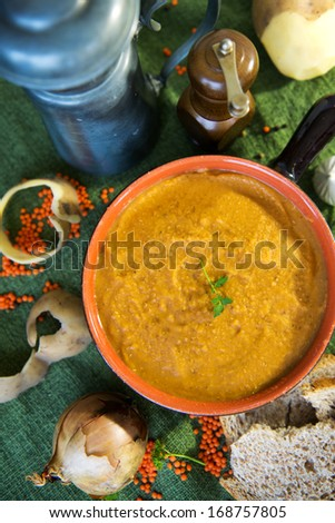 Home made vegetarian lentil soup with ingredients