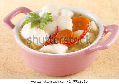 home made white fish stew in a pink bowl
