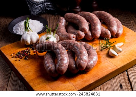 Home-made white sausage out pigs and calf meat  - stock photo