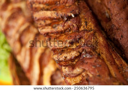 Home-made whole boiled ham prepared by polish butcher.Macro perspective, nobody. Butcher, butchery, shop, healthy meal. restaurant, agriculture. - stock photo