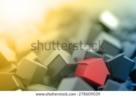 Home market background, original house three dimensional models. - stock photo