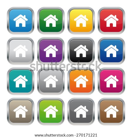 Home metallic square buttons - stock photo