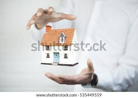 home model  in the business man hand