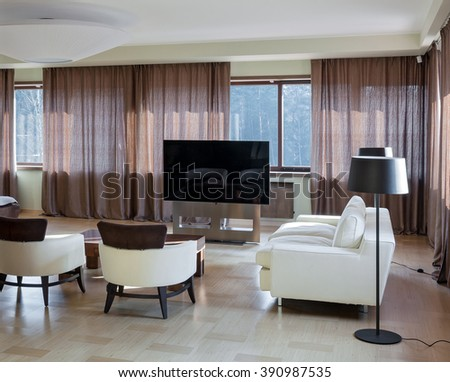 Home modern luxury theater interior with big windows  - stock photo