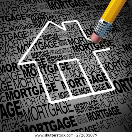 Home mortgage concept and real estate house ownership success symbol as a pencil erasing the shape of a family residence as a metaphor for paying off residential debt and financing a household. - stock photo