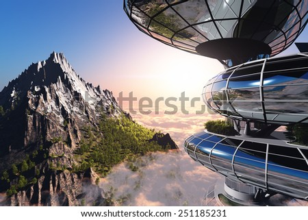 Home of the future against the background of the mountains. - stock photo
