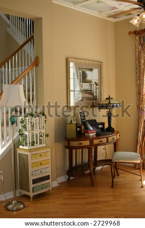 home office area in an upscale new home - stock photo