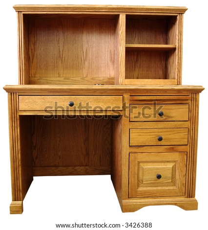 Home Office Computer Desk in Honey Oak Finish - stock photo