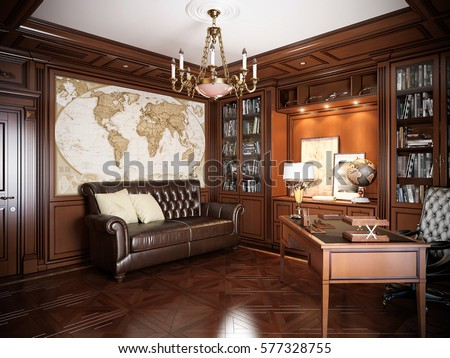 Classic Style Interior Design home office interior design classic style stock illustration