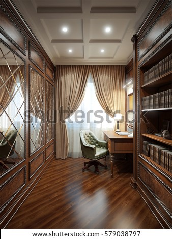 Home office interior design in classic style. 3d rendering