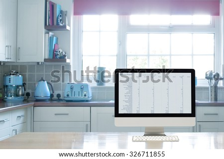 Home office interior set up in the kitchen - stock photo