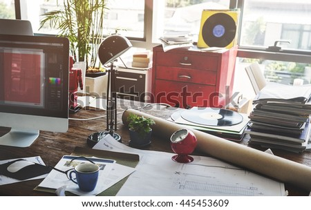 Home Office Window Wooden Table Workplace Concept - stock photo