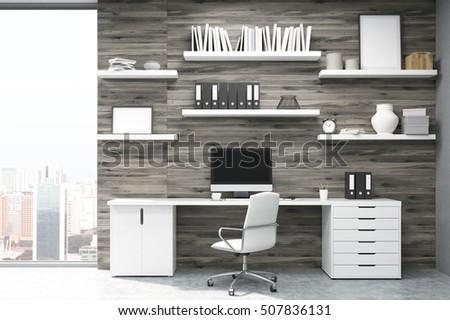dark wood shelves home office light wood panels large stock illustration 507127306