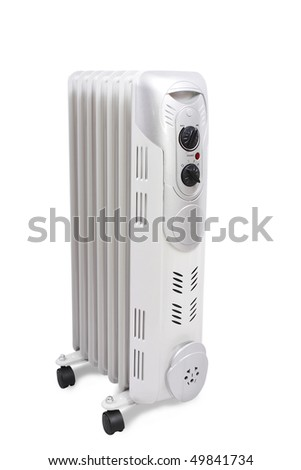 Home oil heater isolated over white in studio. Clipping path included. - stock photo