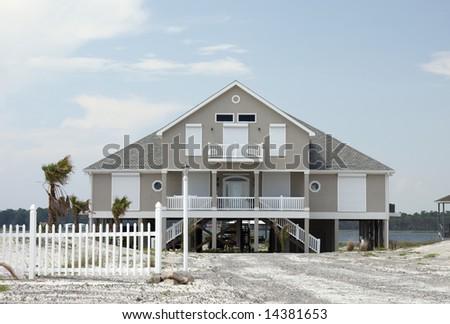 Home on the beach. - stock photo